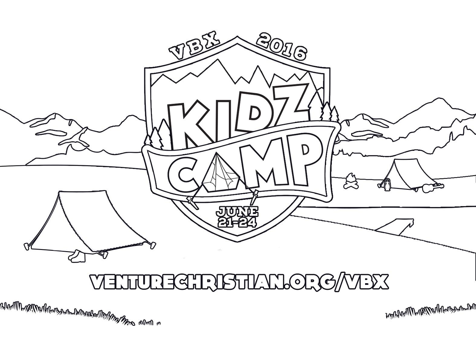 Venture Christian Kidz Camp Coloring Postcard