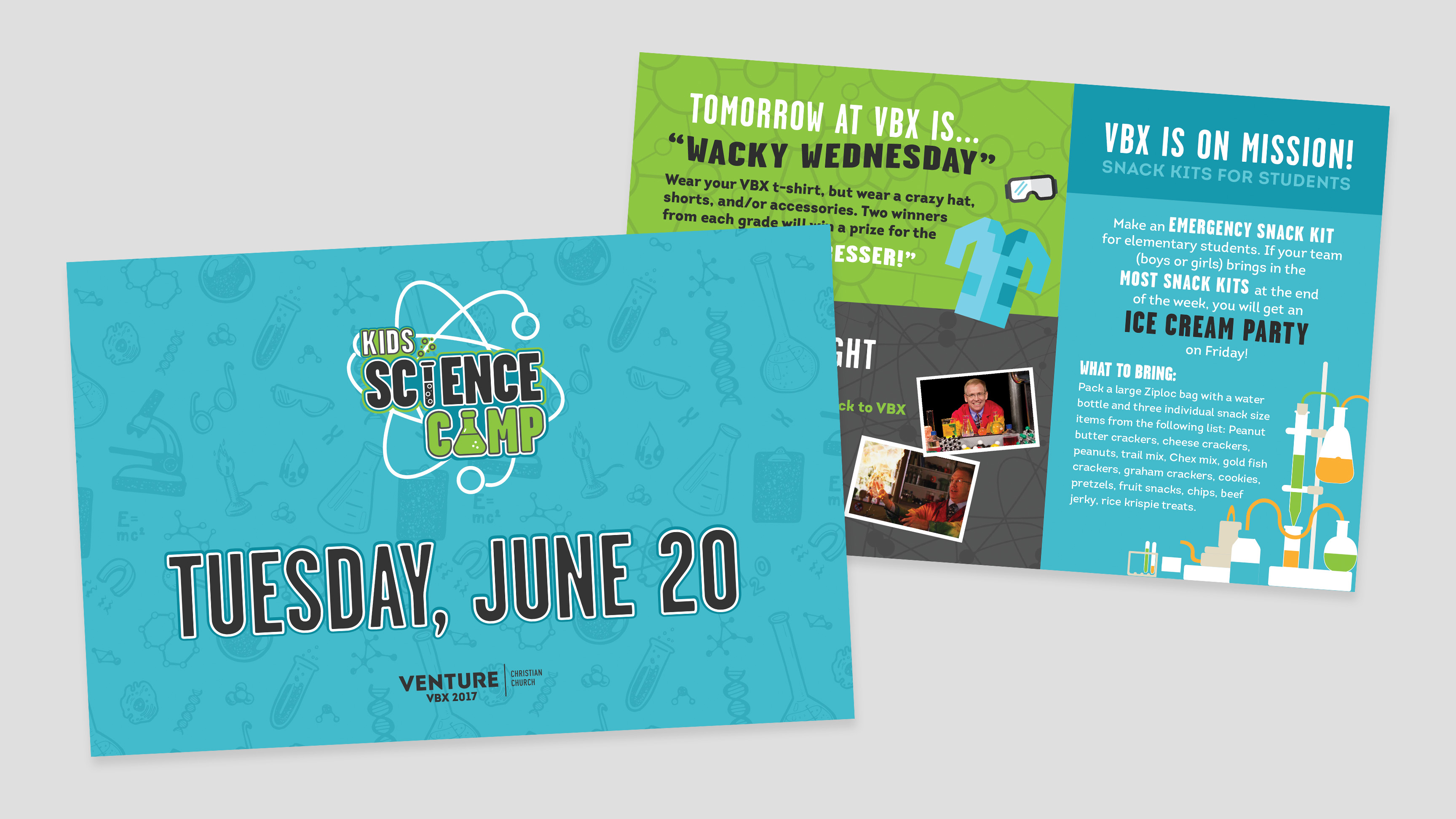 Kids Science Camp - Vacation Bible School VBS VBX Graphic Design Daily Handouts