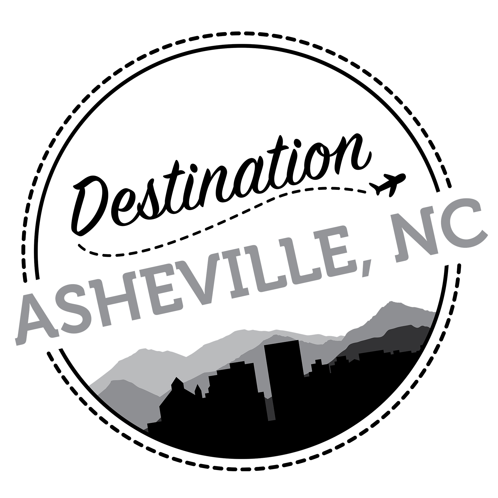 Destination Asheville Logo Grey Scale - Erica Zoller Creative